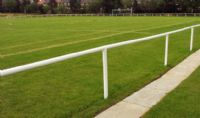 Sport Pitch Spectator barrier for use on football and rugby pitches.  Affordable Barriers made in Sheffield UK Tel 01142424244